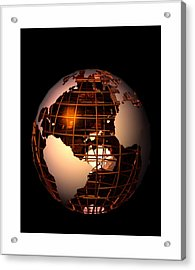 Acrylic Print featuring the digital art Bronze Globe... by Tim Fillingim