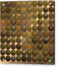 Bronzed Hubcaps Acrylic Print by Ann Stretton