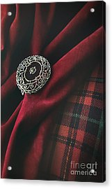 Brooch With Red Velvet And Green Plaid Acrylic Print