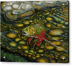 Acrylic Print featuring the painting Brook Trout by Steve Ozment