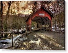 Brookdale Covered Bridge - Stowe Vt Acrylic Print by Joann Vitali