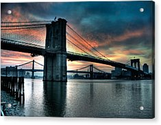 Brooklyn And Manhattan Bridges - Rosy Fingered Dawn Acrylic Print by Mark Garbowski
