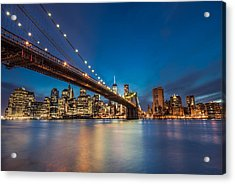 Brooklyn Bridge - Manhattan Skyline Acrylic Print by Larry Marshall