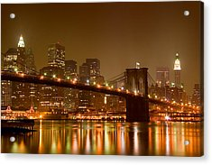 Brooklyn Bridge And Downtown Manhattan Acrylic Print