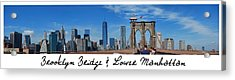 Brooklyn Bridge And Lower Manhattan Script Acrylic Print