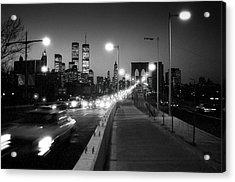 Brooklyn Bridge And Manhattan Skyline At Dusk 1980s Acrylic Print by Gary Eason