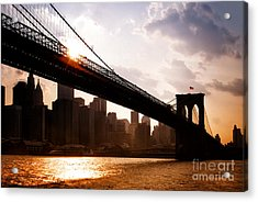 Brooklyn Bridge And Skyline Manhattan New York City Acrylic Print
