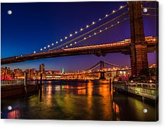 Brooklyn Bridge At Night Acrylic Print by Chris McKenna