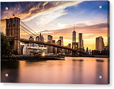 Brooklyn Bridge At Sunset  Acrylic Print