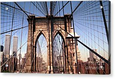 Brooklyn Bridge Before 9/11/01 Acrylic Print by Steven Spak