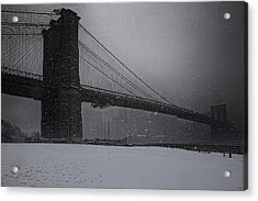 Brooklyn Bridge Blizzard Acrylic Print