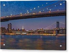 Brooklyn Bridge Frames Manhattan Acrylic Print by Susan Candelario