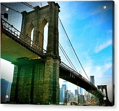 Brooklyn Bridge Glow Acrylic Print by Frank Winters