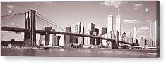 Brooklyn Bridge, Hudson River, Nyc, New Acrylic Print by Panoramic Images
