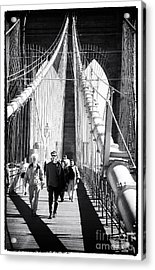 Brooklyn Bridge Shadows 1990s Acrylic Print by John Rizzuto