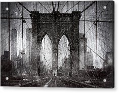 Brooklyn Bridge Snow Day Acrylic Print