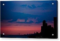 Brooklyn Bridge Sunrise Acrylic Print by Sara Frank
