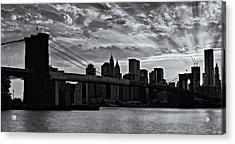 Brooklyn Bridge Sunset Bw Acrylic Print by Susan Candelario