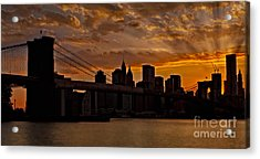 Brooklyn Bridge Sunset Acrylic Print by Susan Candelario