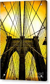 Brooklyn Bridge Yellow Acrylic Print by Az Jackson