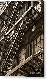 Brooklyn Fire Escapes Acrylic Print by Diane Diederich