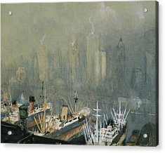Brooklyn Harbor Circa 1921  Acrylic Print by Aged Pixel