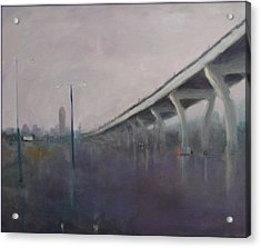 Acrylic Print featuring the painting Brooklyn Underpass by Rosemarie Hakim