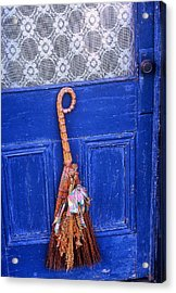 Acrylic Print featuring the photograph Broom On Blue Door by Rodney Lee Williams