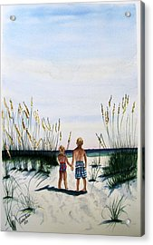 Brother Sister On Beach Sold Acrylic Print