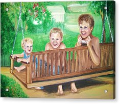 Brothers Hanging Out Together Acrylic Print by Martha Suhocke
