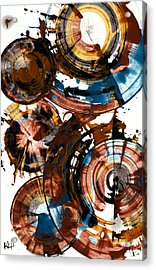Acrylic Print featuring the painting Brown And Blue Spherical Joy - 992.042212 by Kris Haas