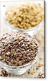 Brown And Golden Flax Seed Acrylic Print by Elena Elisseeva