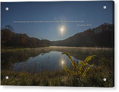 Brown County State Park Nashville Indiana Biblical Verse Ogle Lake Acrylic Print by David Haskett
