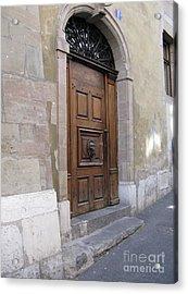 Acrylic Print featuring the photograph Brown Door by Arlene Carmel