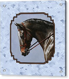Brown Dressage Horse Pillow Blue Acrylic Print by Crista Forest