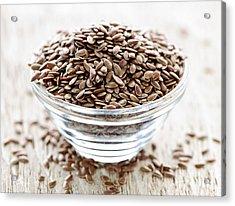 Brown Flax Seed Acrylic Print by Elena Elisseeva