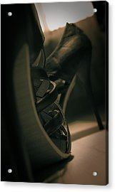 Brown High Heels Stylish Shoes Acrylic Print