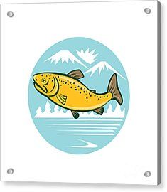 Brown Trout Jumping Circle Cartoon Acrylic Print