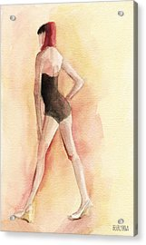 Brown Vintage Bathing Suit 1 Fashion Illustration Art Print Acrylic Print by Beverly Brown