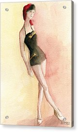 Brown Vintage Bathing Suit 2 Fashion Illustration Art Print Acrylic Print by Beverly Brown