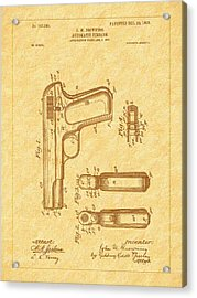 Browning 1903 Automatic Pistol Patent Acrylic Print by Barry Jones