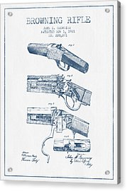 Browning Rifle Patent Drawing From 1921 -  Blue Ink Acrylic Print
