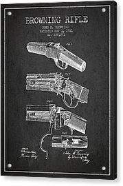 Browning Rifle Patent Drawing From 1921 - Dark Acrylic Print