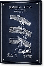 Browning Rifle Patent Drawing From 1921 - Navy Blue Acrylic Print