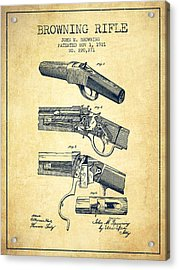 Browning Rifle Patent Drawing From 1921 - Vintage Acrylic Print
