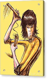Acrylic Print featuring the drawing Bruce Lee II by Tu-Kwon Thomas