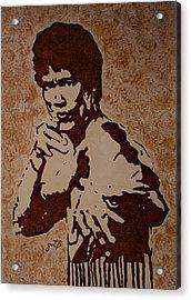Bruce Lee Original Coffee Painting Acrylic Print by Georgeta Blanaru