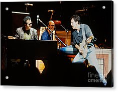 Bruce Springsteen Billy Joel And Paul Schaffer Acrylic Print by Chuck Spang
