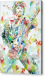 Bruce Springsteen Playing The Guitar Watercolor Portrait Acrylic Print by Fabrizio Cassetta