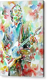 Bruce Springsteen Playing The Guitar Watercolor Portrait.3 Acrylic Print by Fabrizio Cassetta